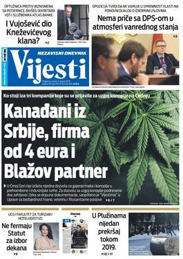 """Naslovna strana """"Vijesti"""" za 11. januar 2020. godine"""