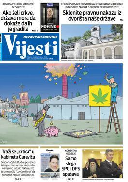 """Naslovna strana """"Vijesti"""" za 12. januar 2020. godine"""