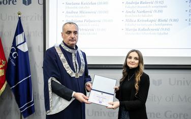 Rektor UCG Danilo Nikolić i Anela Nurković