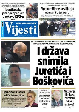 """Naslovna strana """"Vijesti"""" za 13. januar 2020. godine"""