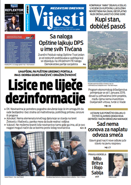 """Naslovna strana """"Vijesti"""" za 14. januar. 2020. godine"""