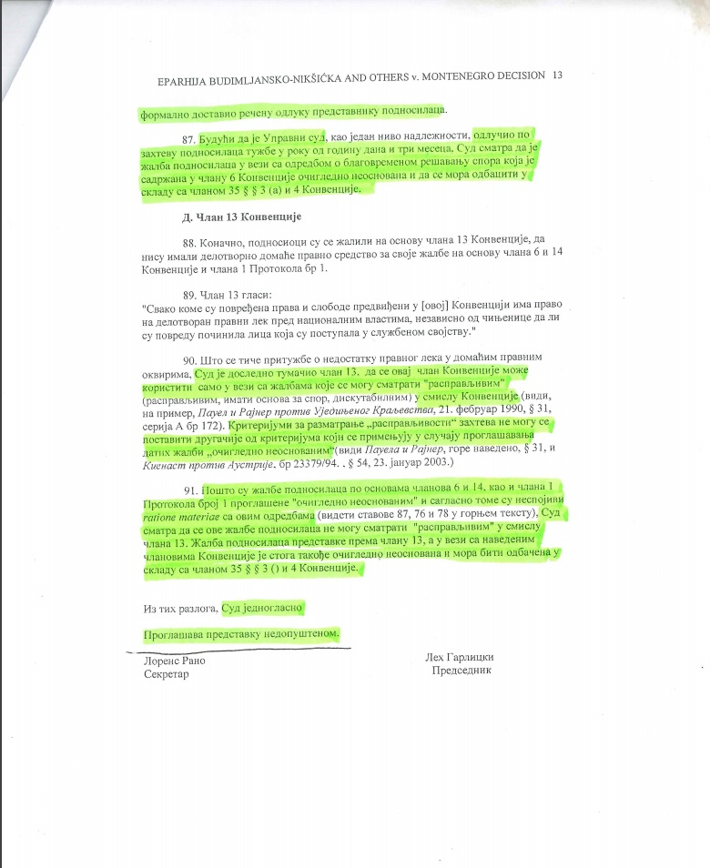 Zadnja stranica presude suda u Strazburu