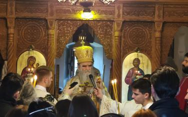 Mitropolit Amfilohije tokom liturgije u manastiru Svetog Arhangela Mihaila