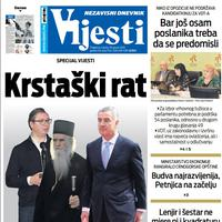 """Naslovna strana """"Vijesti"""" za 18. januar 2020. godine"""