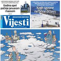 """Naslovna strana """"Vijesti"""" za 19. januar 2020. godine"""