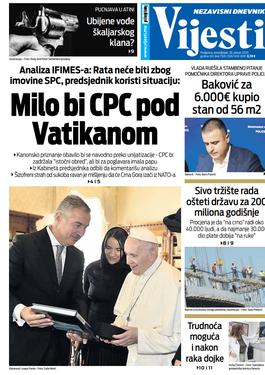 """Naslovna strana """"Vijesti"""" za 20. januar 2020. godine"""