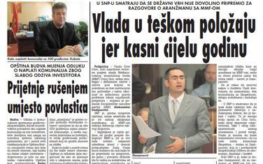 """Strana """"Vijesti"""" od 20. januara 2010."""