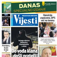 """Naslovna strana """"Vijesti"""" za 21. januar 2021. godine"""