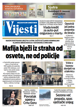 """Naslovna strana """"Vijesti"""" za 22. januar 2020."""