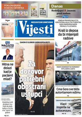 """Naslovna strana """"Vijesti"""" za 23. januar 2020. godine"""