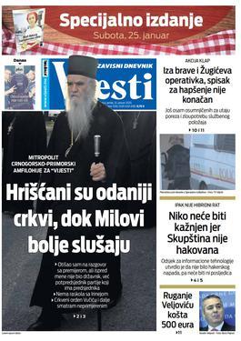 """Naslovna strana """"Vijesti"""" za 24. januar 2020. godine"""