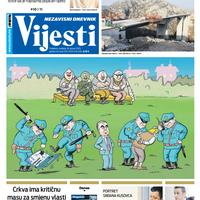 """Naslovna strana """"Vijesti"""" za 26. januar 2020. godine"""