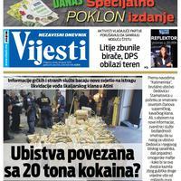 """Naslovna strana """"Vijesti"""" za 28. januar 2020. godine"""