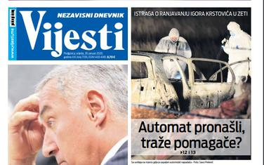 """Naslovna strana """"Vijesti"""" za 29.01.2020."""