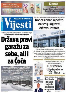 """Naslovna strana """"Vijesti"""" za 30. januar 2020. godine"""