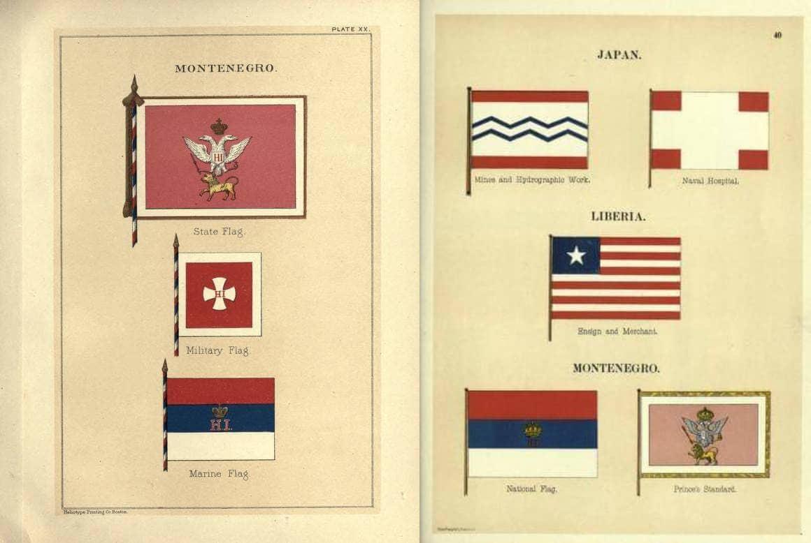 Crnogorske zastave u međunarodnim veksilološkim albumima (1882, 1899)