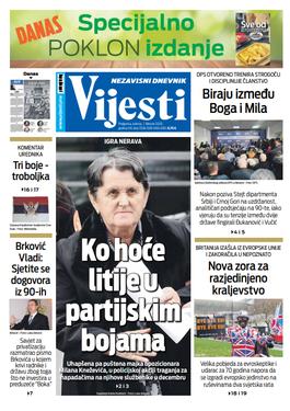 """Naslovna strana """"Vijesti"""" za prvi februar 2020. godine"""