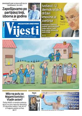 """Naslovna strana """"Vijesti"""" za drugi februar 2020. godine"""