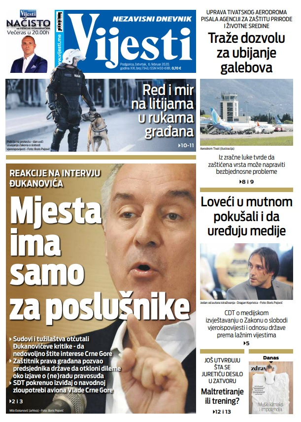 """Naslovna strana """"Vijesti"""" za 6. februar 2020. godine"""