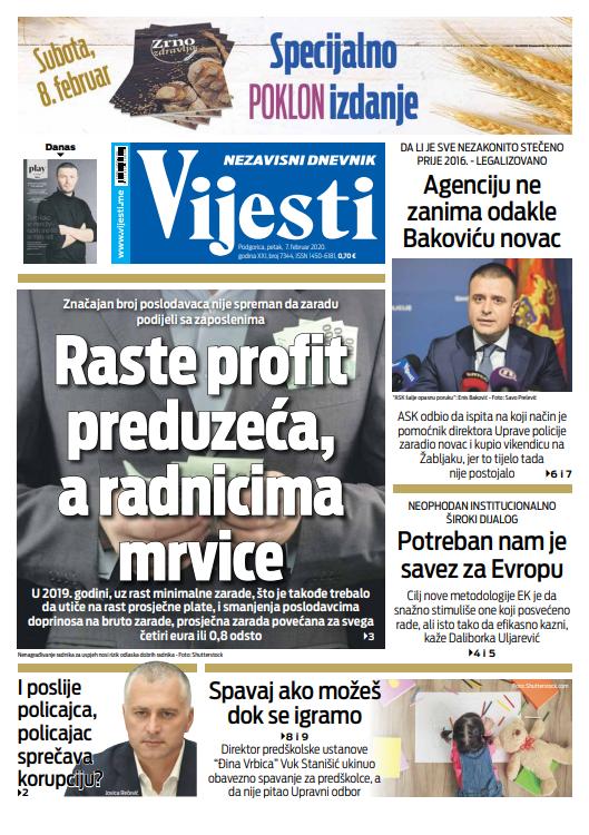 """Naslovna strana """"Vijesti"""" za sedmi februar"""