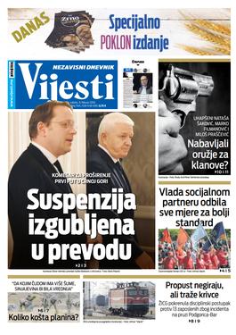 """Naslovna strana """"Vijesti"""" za 8. februar 2020."""