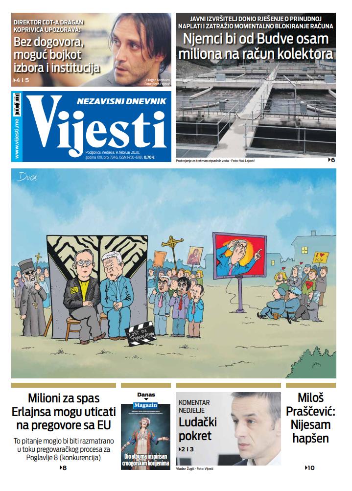 """Naslovna strana """"Vijesti"""" za 9. februar 2020."""