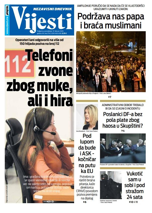 Naslovna strana Vijesti za 10.2.2020.