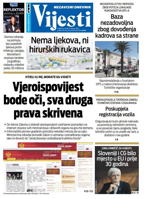 """Naslovna strana """"Vijesti"""" za utorak 11. februar 2020. godine"""