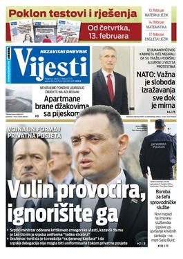 """Naslovna strana """"Vijesti"""" za 12. februar 2020. godine"""