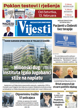 """Naslovna strana """"Vijesti"""" za 13. februar 2020. godine"""