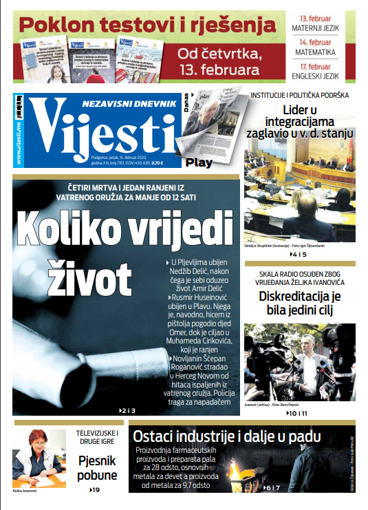 """Naslovna strana """"Vijesti"""" za 14. februar 2020. godine"""