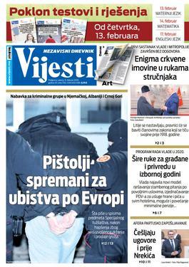 """Naslovna strana """"Vijesti"""" za subotu 15. februar 2020. godine"""