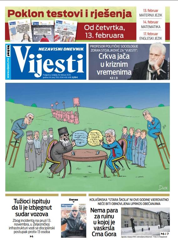 """Naslovna strana """"Vijesti"""" za 16.02.2020."""