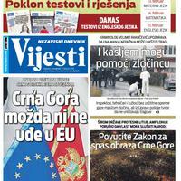 """Naslovna strana """"Vijesti"""" za 17. februar 2020. godine"""
