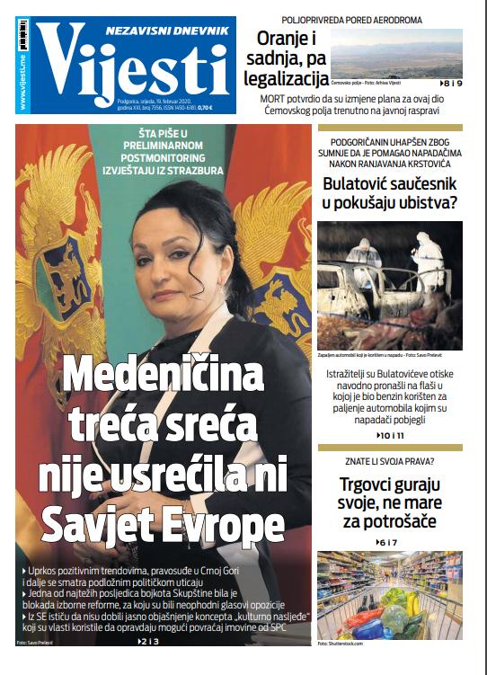 """Naslovna strana """"Vijesti"""" za 19. februar 2020. godine"""