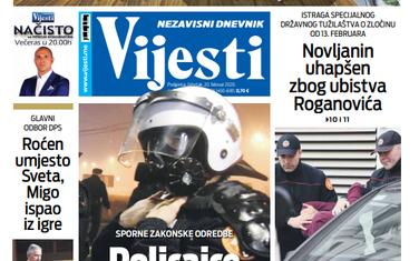 """Naslovna strana """"Vijesti"""" za 20. februar 2020. godine"""