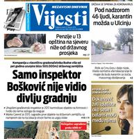 """Naslovna strana """"Vijesti"""" za 21. februar 2020."""