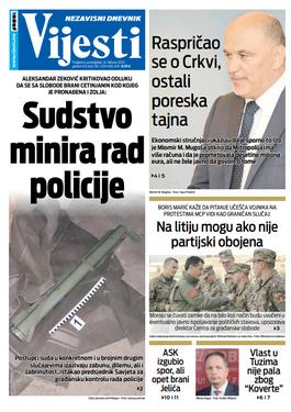"""Naslovna strana """"Vijesti"""" za 24. februar 2020. godine"""