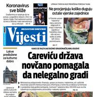 """Naslovna strana """"Vijesti"""" za 25. februar 2020. godine"""