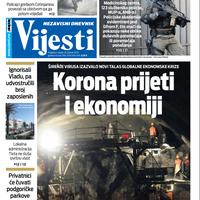 """Naslovna strana """"Vijesti za 26. februar 2020. godine"""