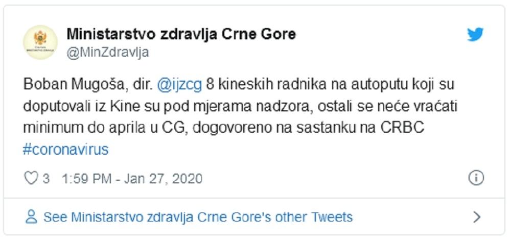 Tvit Ministarstva zdravlja od 27. januara