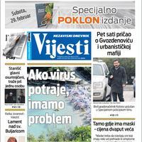 """Naslovna strana """"Vijesti"""" 28.2.2020."""