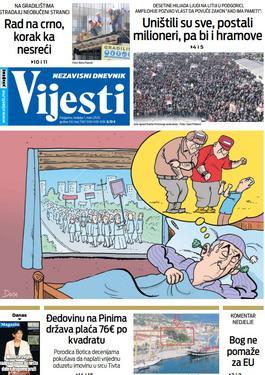 """Naslovna strana """"Vijesti"""" za nedjelju 1. mart 2020. godine"""