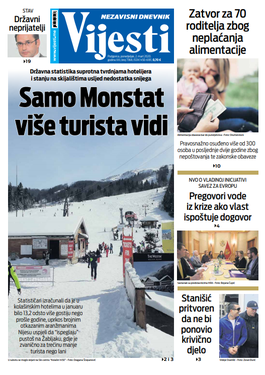 "Naslovna strana ""Vijesti"" za drugi mart 2020. godine"