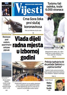 """Naslovna strana """"Vijesti"""" za treći mart 2020. godine"""