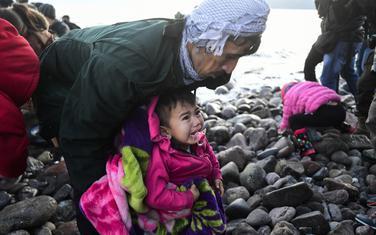 Migranti na obali grčkog ostrva Lezbos