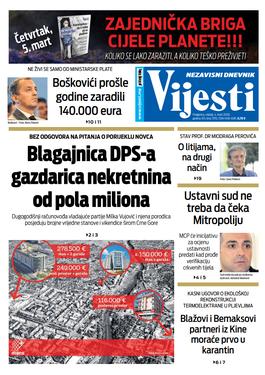 """Naslovna strana """"Vijesti"""" za 4. mart 2020."""