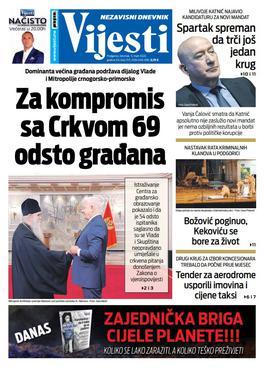 """Naslovna strana """"Vijesti"""" za 5. mart 2020."""