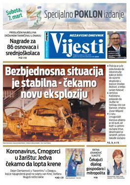 """Naslovna strana """"Vijesti"""" za petak 6. mart 2020. godine"""
