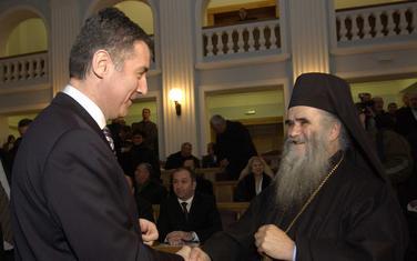 Predsjednik Crne Gore Milo Đukanović i mitropolit crnogorsko-primorski Amfilohije